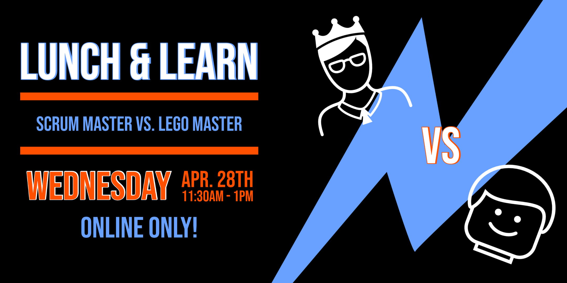 Scrum master vs Lego Master difference graphic